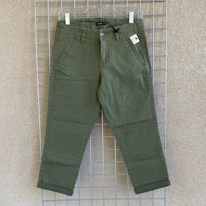 New Military Green Stretch Twill Chino Crop Jeans